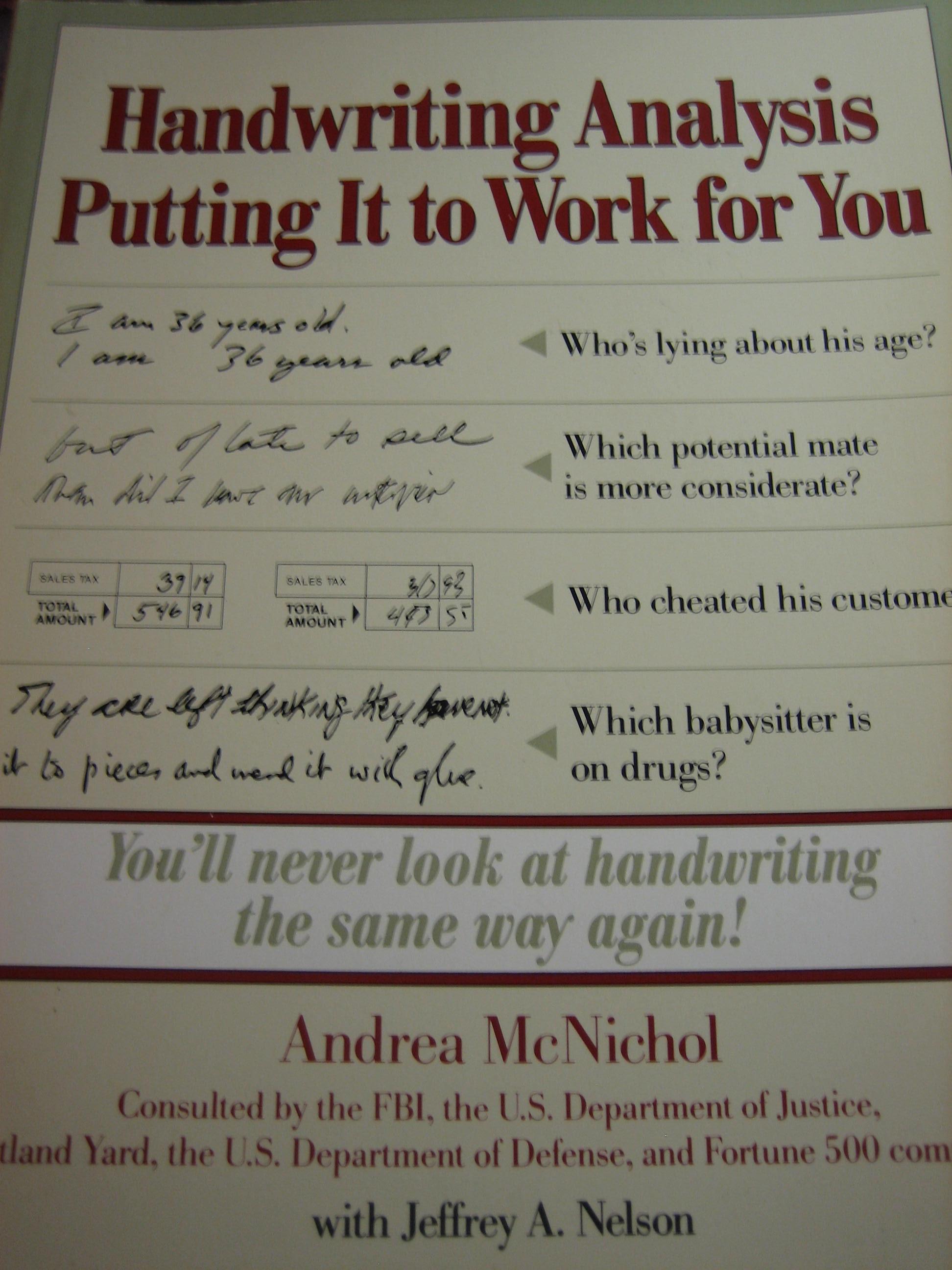 ANDREA MCNICHOL HANDWRITING ANALYSIS PDF